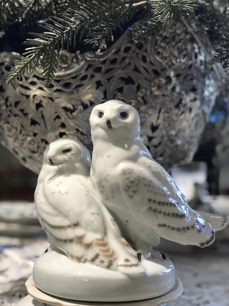 Schnee-Eulenpaar