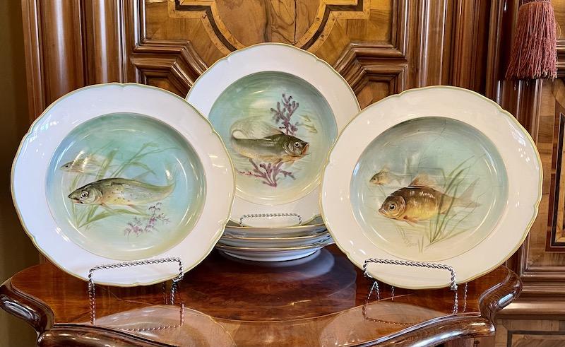 6 Teller mit Fischmotiven